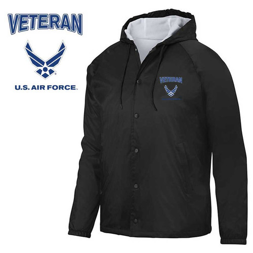 usaf veteran embroidered hooded sports jacket wings logo