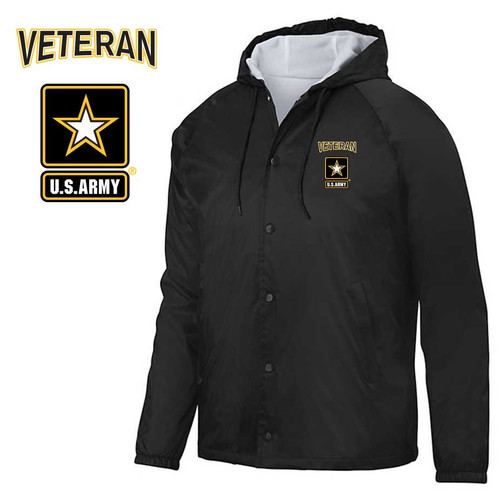 us army veteran embroidered hooded sports jacket army logo