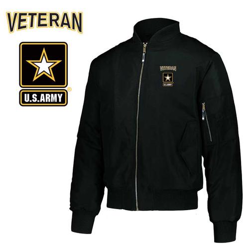 army veteran embroidered flight bomber jacket army logo