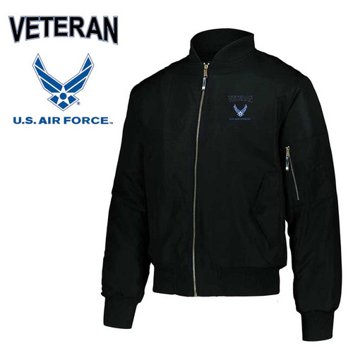 air force veteran embroidered flight bomber jacket air force logo