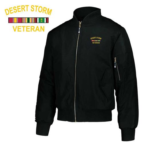 desert storm veteran embroidered flight bomber jacket ribbons