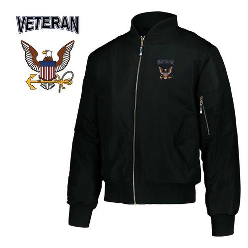 us navy veteran embroidered flight bomber jacket eagle