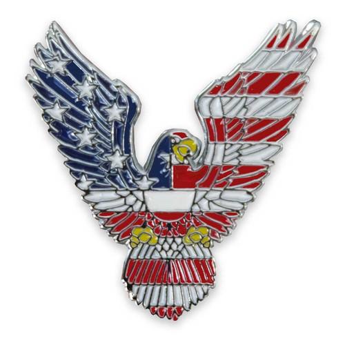 bald eagle lapel pin american flag feathers
