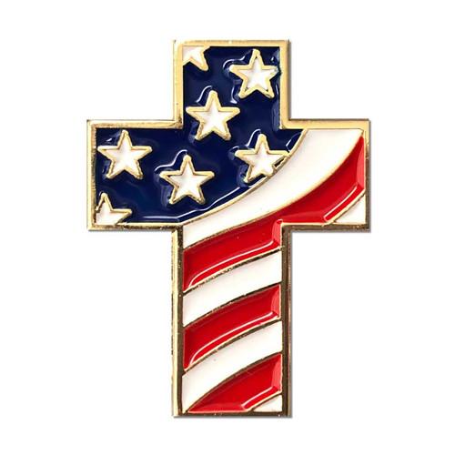 cross lapel pin flag