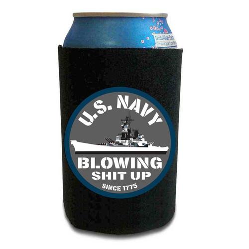 navy can koozie u s navy blowing shit up since 1775 vinyl