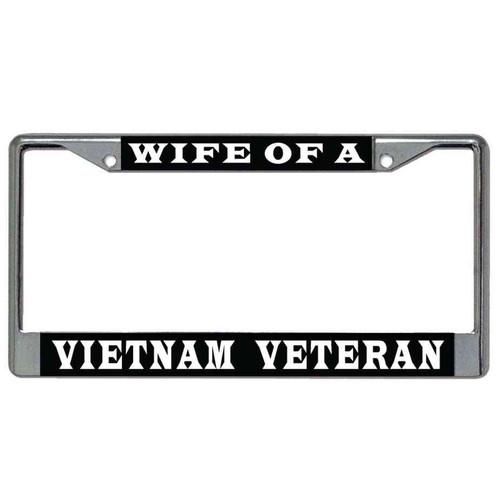 wife a vietnam veteran license plate frame