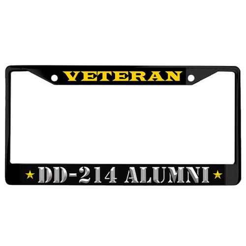 us veteran black powder coated license plate frame dd214 alumni