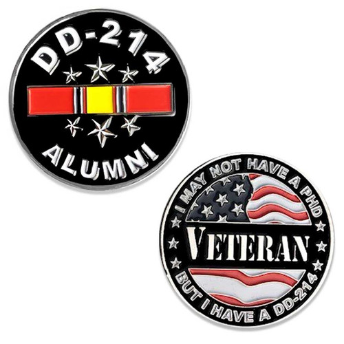 US Veteran Challenge Coin with DD-214 and National Service Ribbon