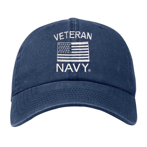 Navy Veteran Hat with Embroidered Flag
