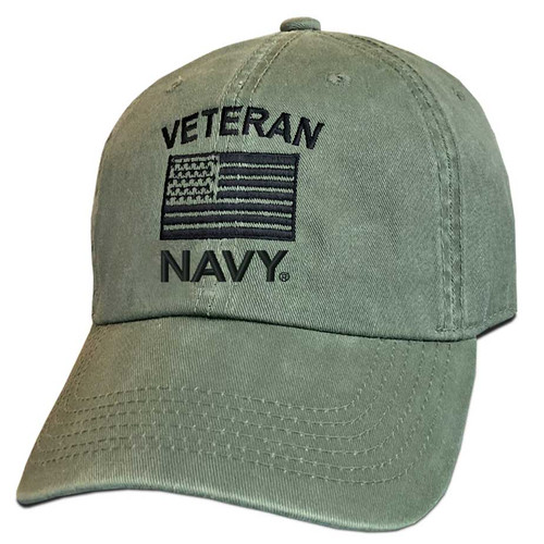 US Navy Veteran Hat with Embroidered Flag