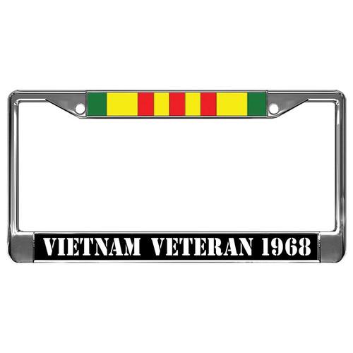 Customize by Year - Vietnam Veteran & Ribbon Metal License Plate Frame