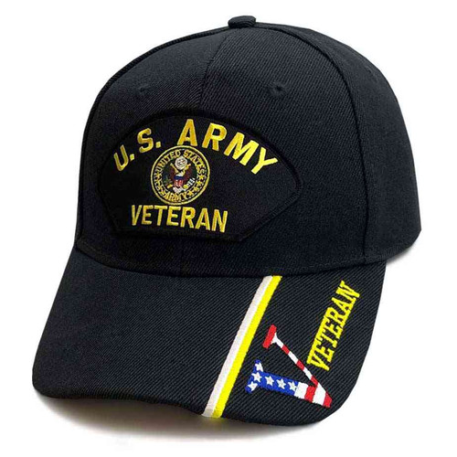 U.S. Army Veteran Hat with Army Crest and V Veteran Graphic