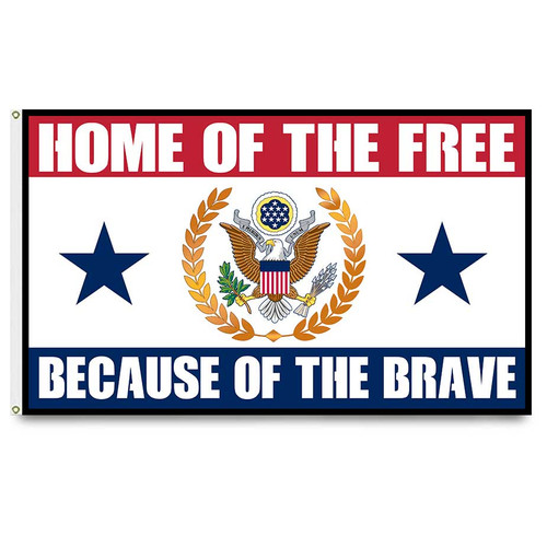 US Veteran Flag with Home Of The Free Because Of The Brave Graphic
