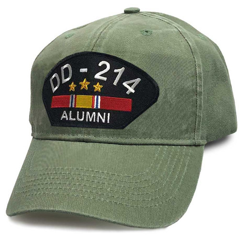 US Veteran Hat with DD-214 Alumni Text and National Service Ribbon Graphic