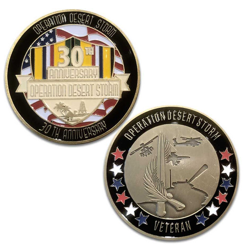 30th Anniversary Operation Desert Storm Challenge Coin with Ribbon and Shield Graphic