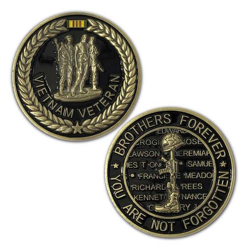 Vietnam Veteran Challenge Coin with Three Soldiers Graphic