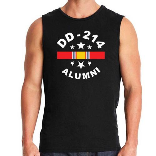 US Veteran Sleeveless Shirt with DD-214 Alumni and National Service Ribbon