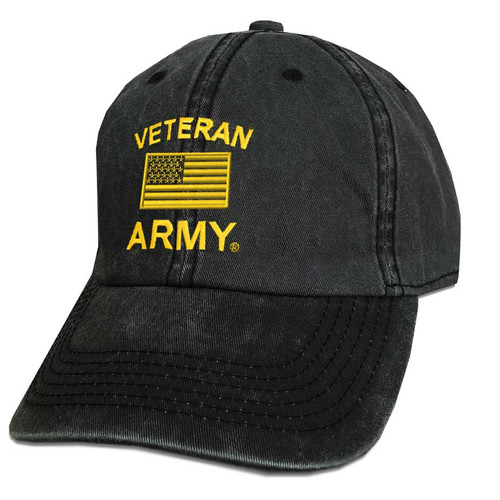 Army Veteran Hat with Embroidered Flag
