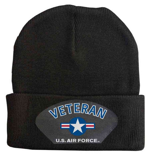 USAF Veteran with Roundel Graphic Custom Edition Vinyl Graphic Knit Winter Hat