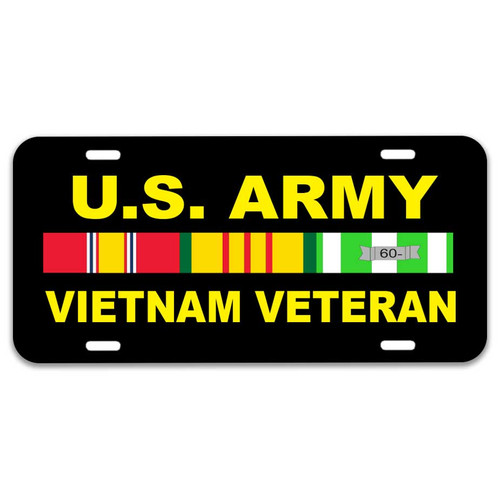 Army Vietnam Veteran License Plate with Ribbons Graphic