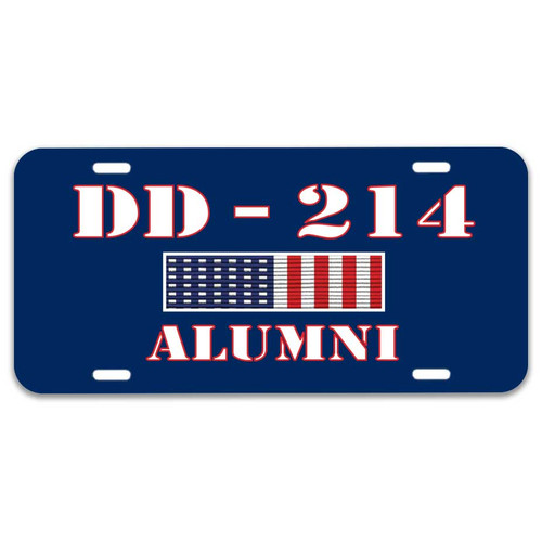 US Veteran License Plate with DD-214 and Ribbon Graphics