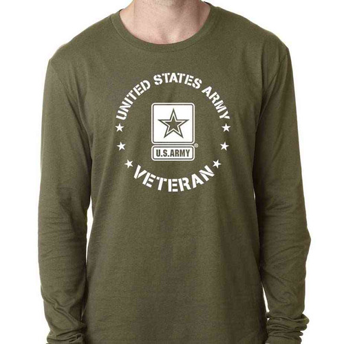 Officially Licensed US Army Veteran Long Sleeve Shirt with Army Logo