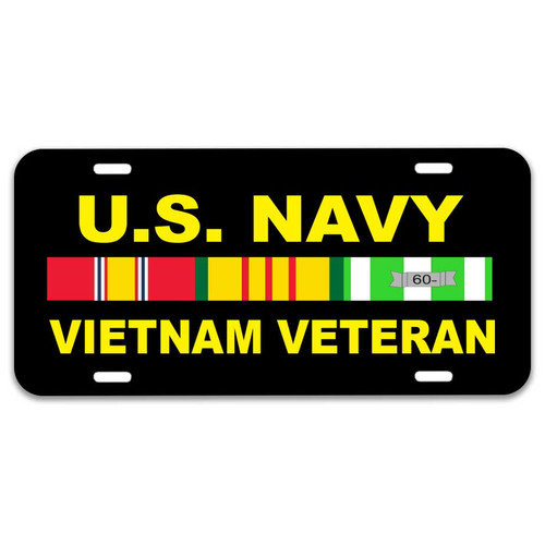 Navy Vietnam Veteran License Plate with Ribbons Graphic