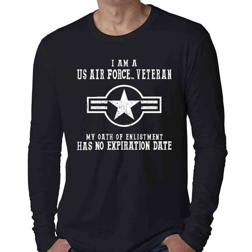 Air Force Veteran Long Sleeve Shirt with Oath Of Enlistment Text and USAF Roundel