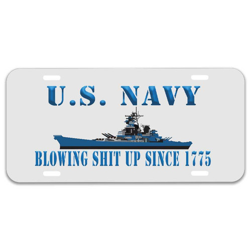 Navy License Plate with Blowing Shit Up Since 1775 Graphic