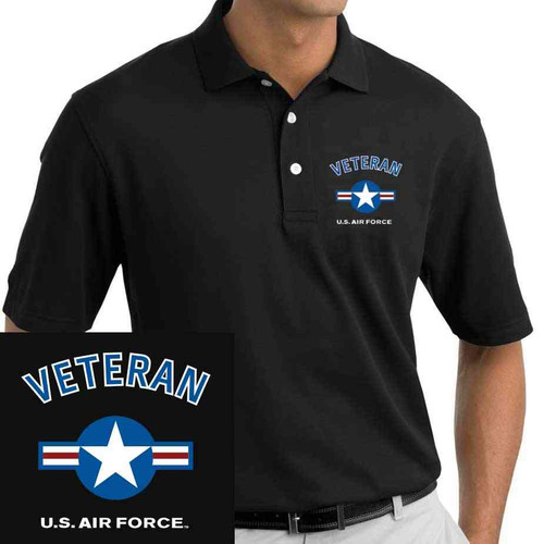 Officially Licensed US Air Force Veteran Polo with USAF Roundel Logo Embroidered