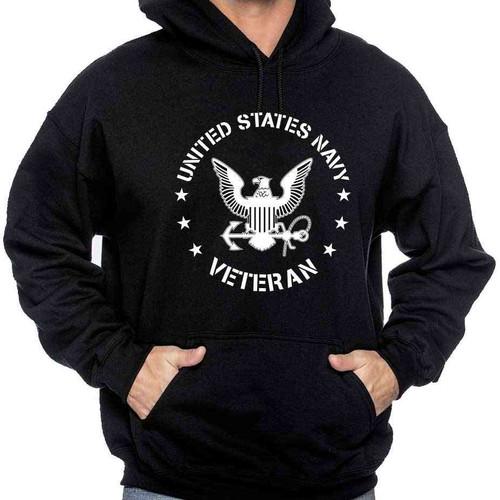 US Navy Veteran Hooded Sweatshirt with Eagle Emblem
