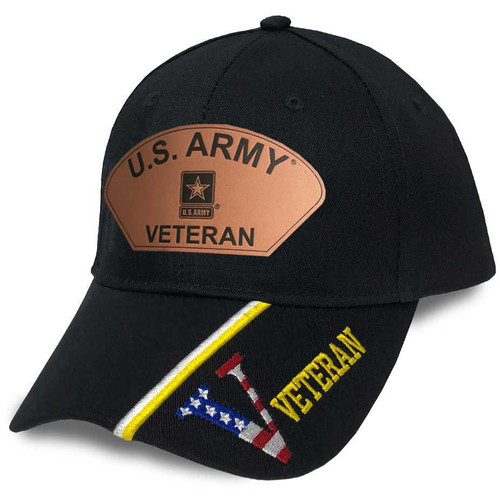 US Army Veteran Hat with Custom Leather Patch and V Veteran Text