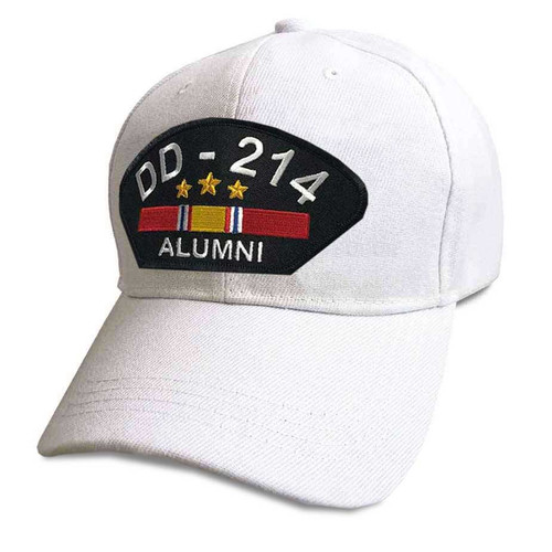 US Veteran Hat with DD-214 Alumni and National Service Ribbon