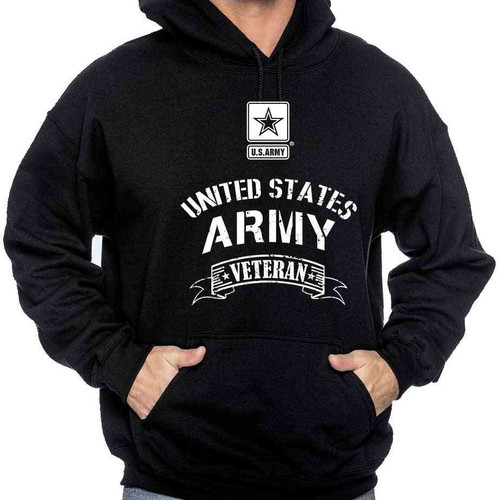 Officially Licensed US Army Veteran Hooded Sweatshirt with Army Logo
