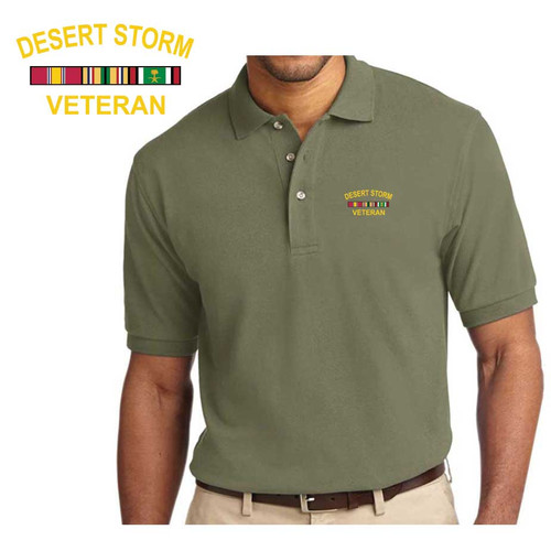 Desert Storm Veteran Embroidered Polo Shirt with Ribbons