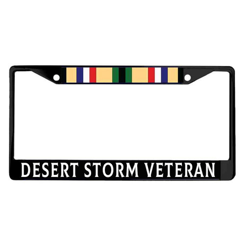 Desert Storm Veteran Metal License Plate Frame with Campaign Ribbon Graphic