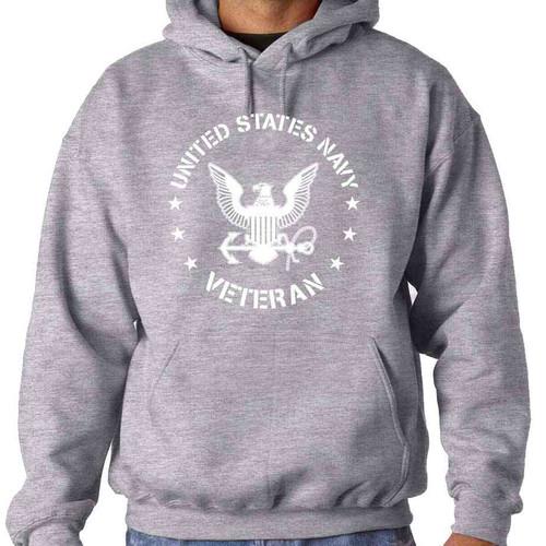 Navy Veteran Hooded Sweatshirt with Eagle Emblem