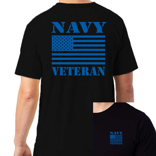 Navy Veteran T-shirt with Blue US Flag Graphic