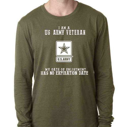 Officially Licensed US Army Veteran Long Sleeve Shirt w/ Oath Of Enlistment Text and US Army Logo