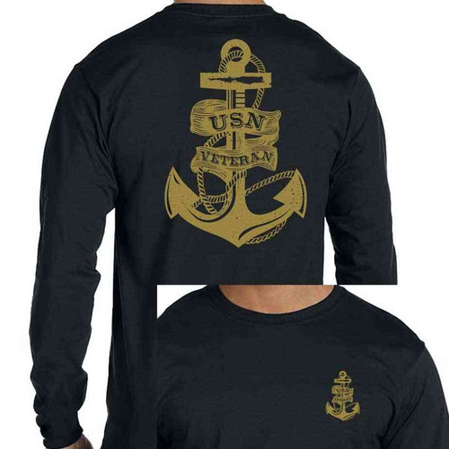 USN Veteran Long Sleeve Shirt with Anchor black