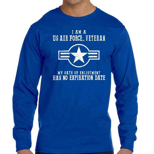 US Air Force Veteran Long Sleeve Shirt with Oath Of Enlistment Text and USAF Roundel Logo