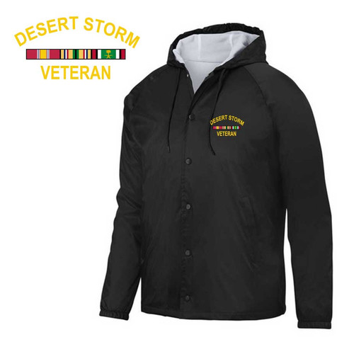 Desert Storm Veteran Embroidered Hooded Sports Jacket with Ribbons Graphic