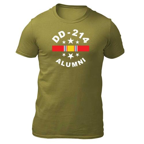 US Veteran T-shirt with DD-214 Alumni and National Service Ribbon