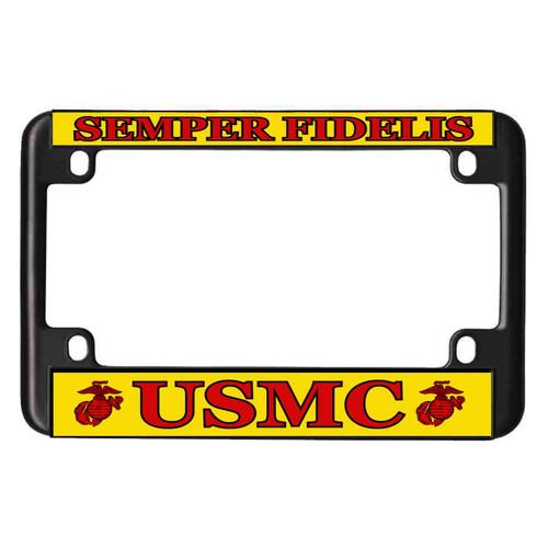 USMC Black Metal Motorcycle License Plate Frame