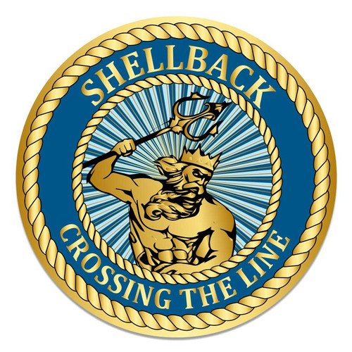 US Navy Circle Decal Sticker with Shellback Crossing The Line Graphic