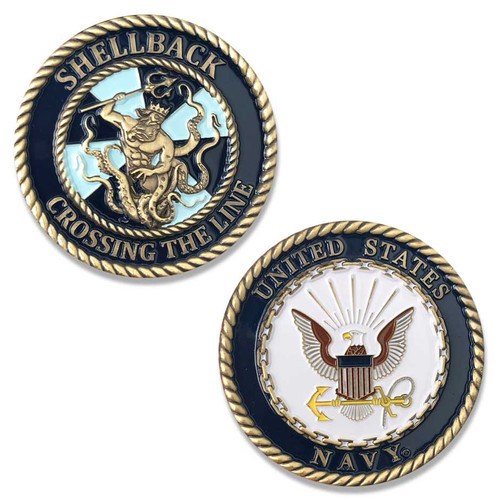 US Navy Challenge Coin with Shellback Graphic