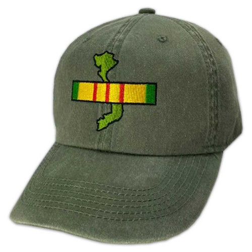 Vietnam Veteran Hat with Map and Ribbon Embroidered- Vintage O.D