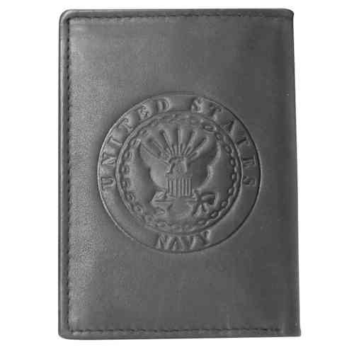 US Navy Crest Leather Trifold Wallet