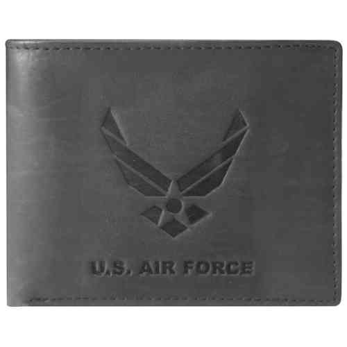 US Air Force Wings Logo Black Leather Bifold Wallet