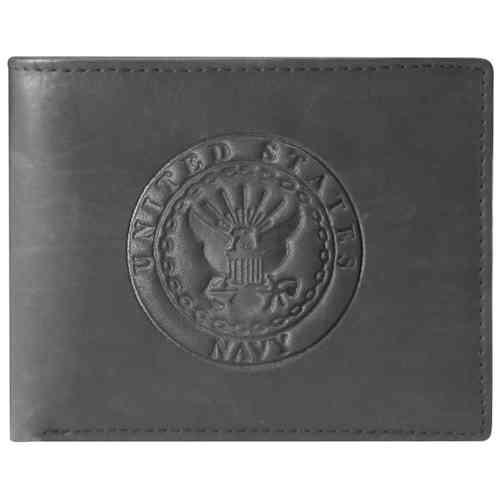 US Navy Crest Black Leather Bifold Wallet